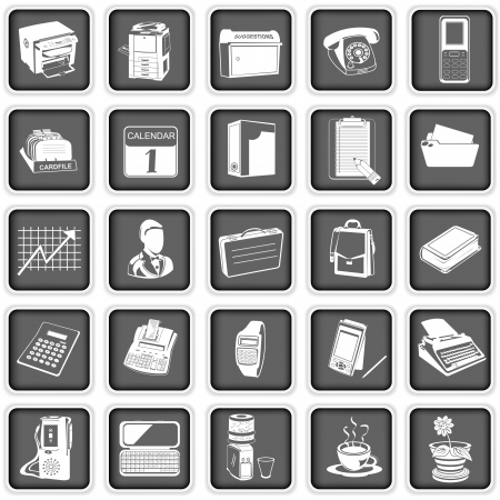 Collection of different office icons Vector