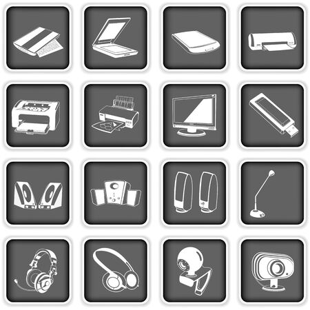 Collection of different computer icons - part 2 Illustration