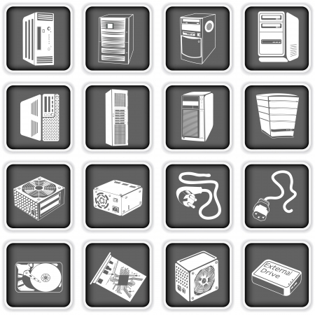 hard drive: Collection of different computer icons - part 5 Illustration