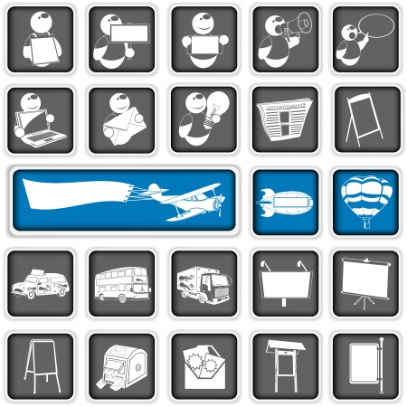 A collection of different squared advertising icons Vector