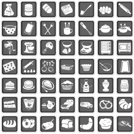 bake: A collection of different squared baking icons Illustration