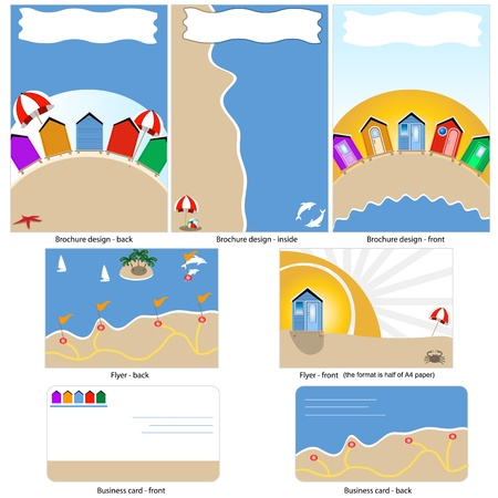Beach template design - brochure design, flyer design and business card design in one package and fully editable. Vector