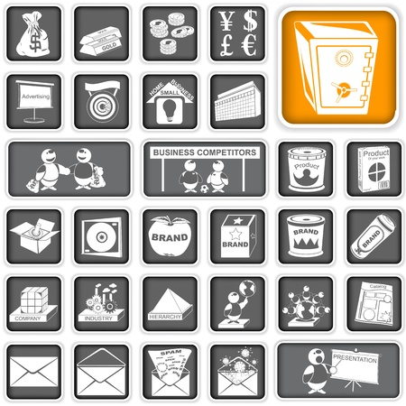 demography: A collection of different squared business icons Illustration