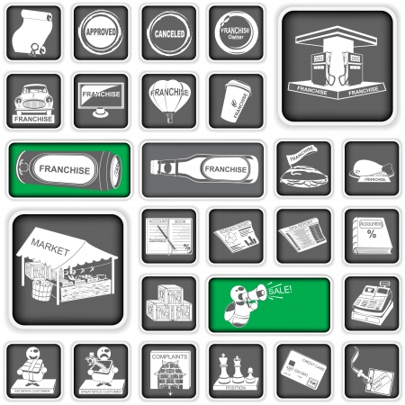 A collection of different squared business icons, part 2 Vector