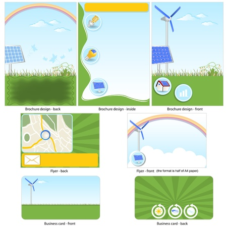 stationary set: Green technology template - brochure design, flyer design and business card design in one package and fully editable.