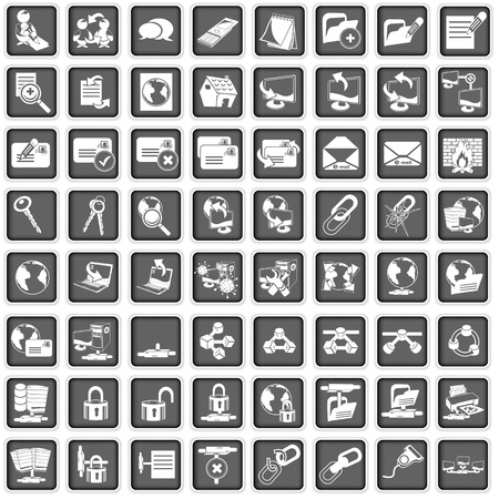 network cable: A collection of different squared network icons Illustration
