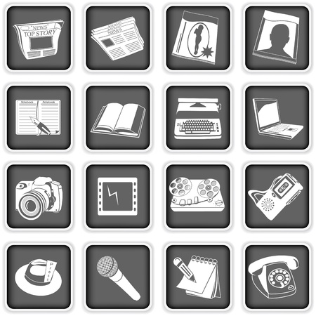 A collection of different squared press icons Stock Vector - 18969780
