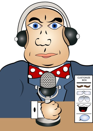 newsreader: Cartoon illustration of a reporter holding a microphone with headphones on his head. You can customize the character by adding him a mustache, glasses, smile or cartooning balloon.