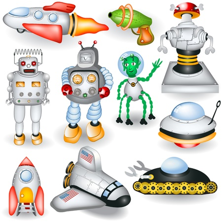 A collection of different retro future icons Stock Vector - 18969788