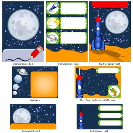 science fiction: Retro science fiction stationaire - brochure ontwerp, flyer ontwerp en visitekaartjes ontwerp in een pakket en volledig bewerkbaar.