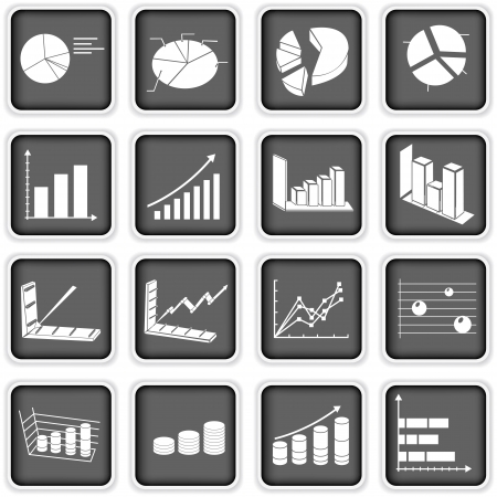 A collection of different squared statistic graph icons Stock Vector - 18969778