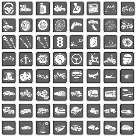 A collection of different squared transport icons Vector