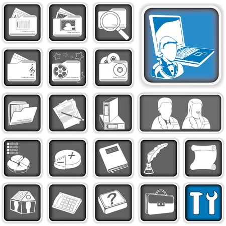 A collection of different administration  icons. Vector