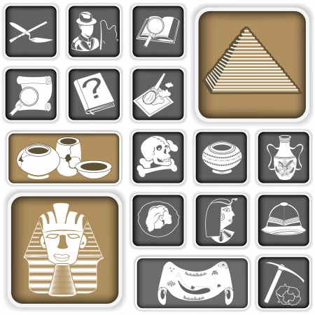 A collection of different archeology squared icons