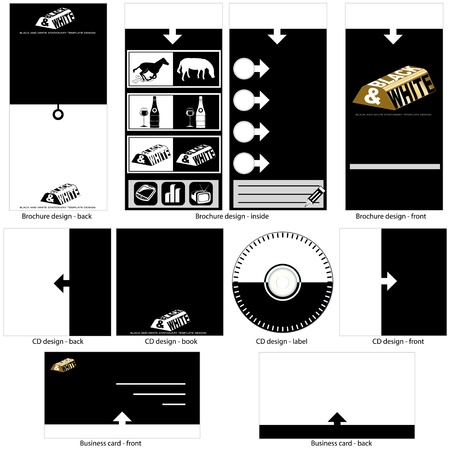 black and white template design - brochure design, CD cover design and business card design in one package and fully editable. Vector
