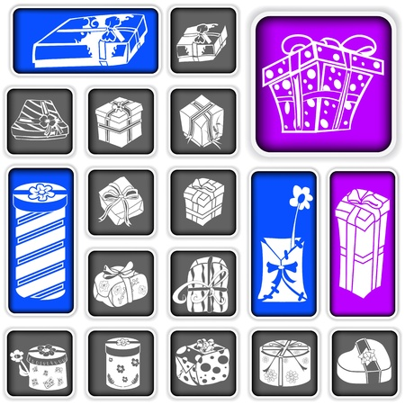 A collection of gift squared icons Vector