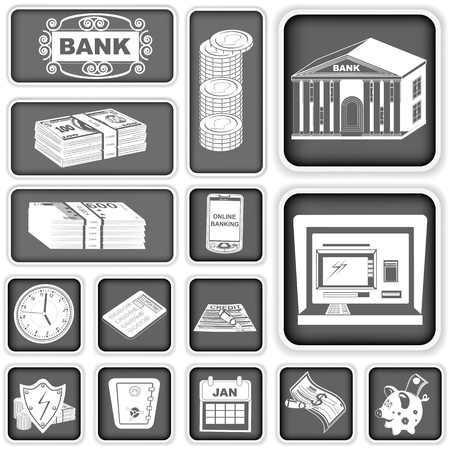 A collection of different finance banking squared icons Vector