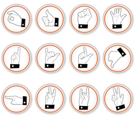 A collection of different hand button icons Stock Vector - 19661577