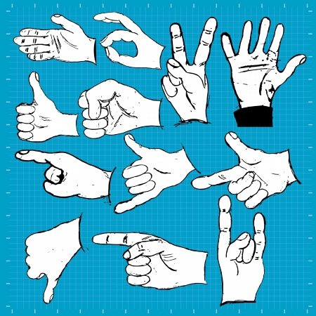 A collection of different hand drawing icons over blue background. Stock Vector - 19661576