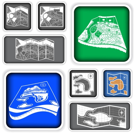 A collection of different  map squared icons Vector