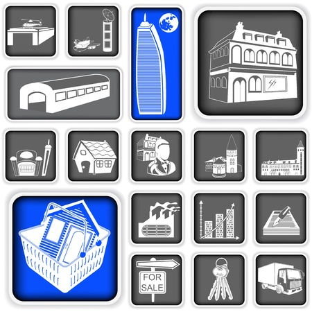 A collection of different real estate squared icons Vector