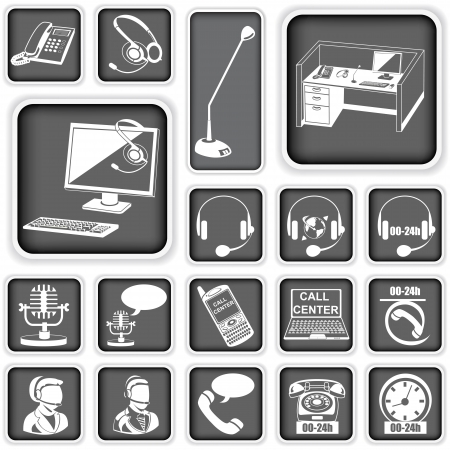 Collection of call center squared icons Vector