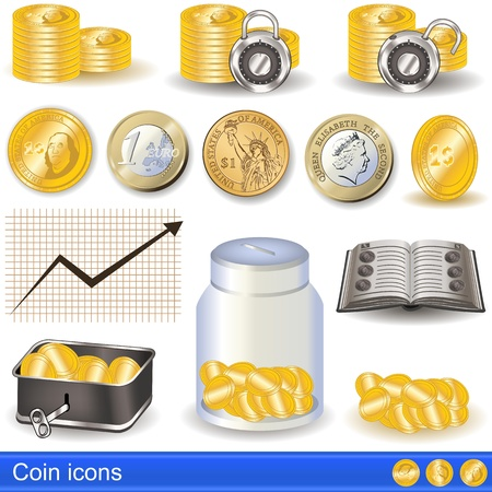 stacked: Collection of coin icons
