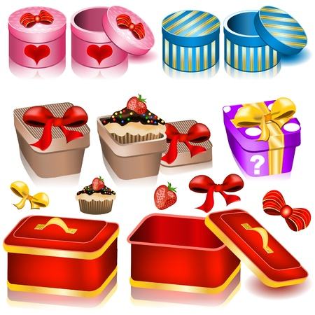 Collection of decoration box icons - part 2 Vector