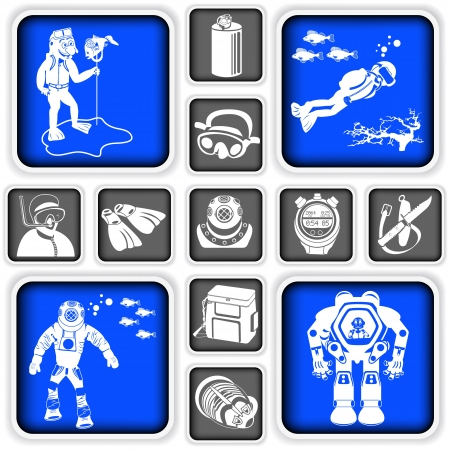 Collection of diving squared icons Vector