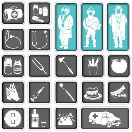 Collection of doctor squared icons Vector