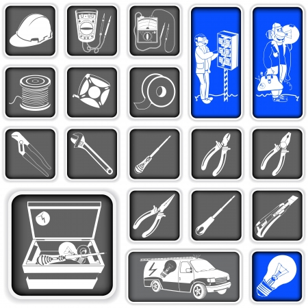 power tool: Collection of electrician squared icons