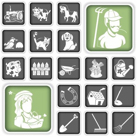 peasant: Collection of farm icons Illustration
