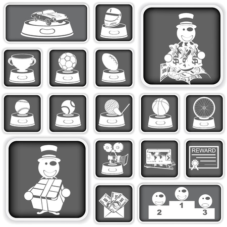 awarding: Collection of reward squared icons