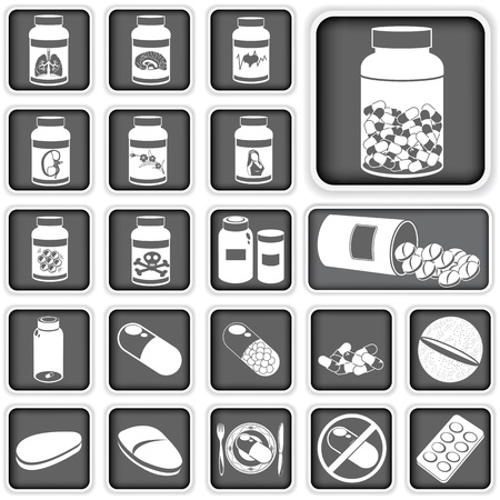 pharmacology: Collection of different squared pills icons