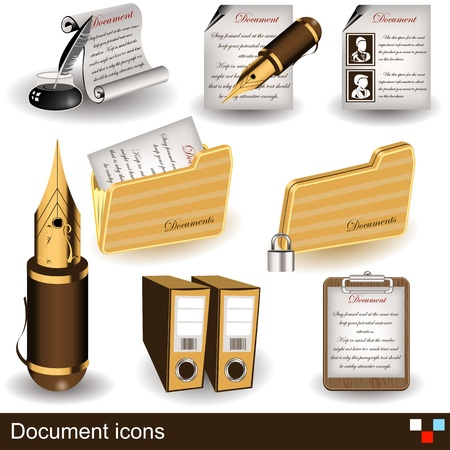 Collection of different colored document icons Vector