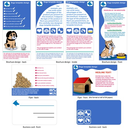 dogs template design - brochure design, flyer design and business card design in one package and fully editable  Vector