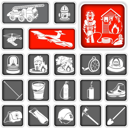 building fire: Collection of different firefighter squared icons Illustration