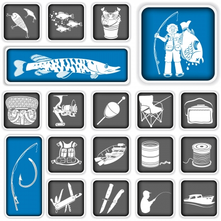 fishing lure: Collection of different fishing squared icons