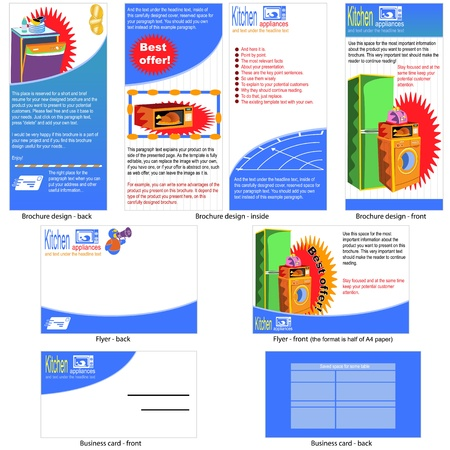 kitchen appliances template design - brochure design, flyer design and business card design in one package and fully editable  Vector