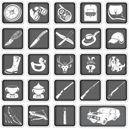 Collection of different hunting squared icons Vector