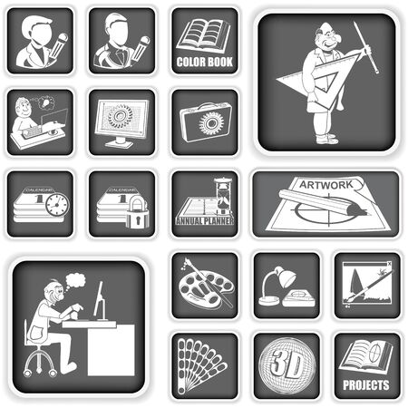 Collection of different squared graphic design icons Vector