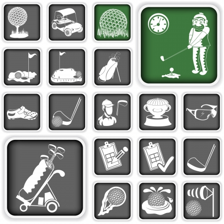 putter: Collection of different squared golf icons Illustration