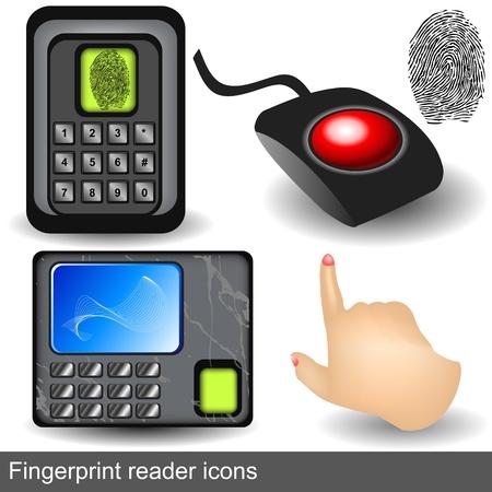 digitized: iconos lector de huellas digitales