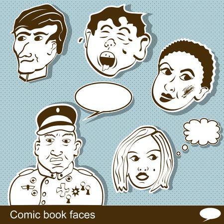 women face stare: Comic book heads Illustration