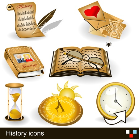 history books: history icons Illustration