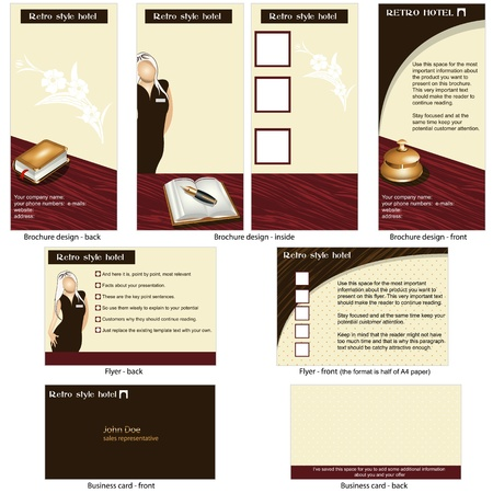 Hotel retro template - brochure design, CD cover design and business card design in one package and fully editable Stock Vector - 21653898