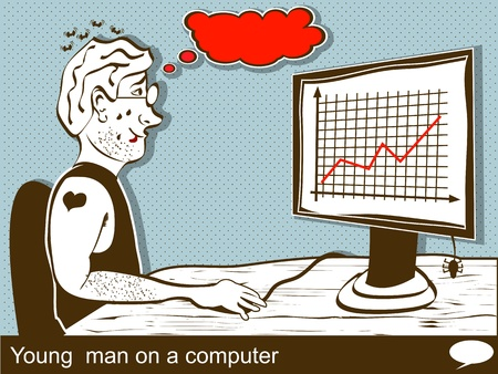 Illustration of a young man on a computer Vector
