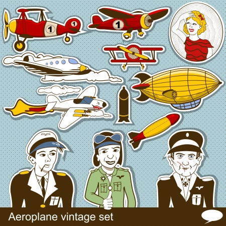 Collection of different aeropalane vintage set Stock Vector - 22103881