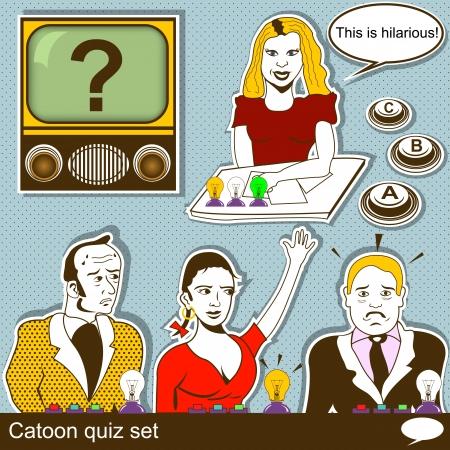 quiz test: Cartoon quiz illustration set