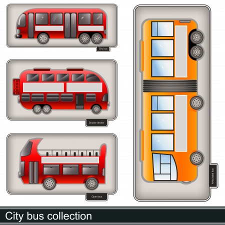 City bus collection - illustration of different types of city bus Stock Vector - 22103883